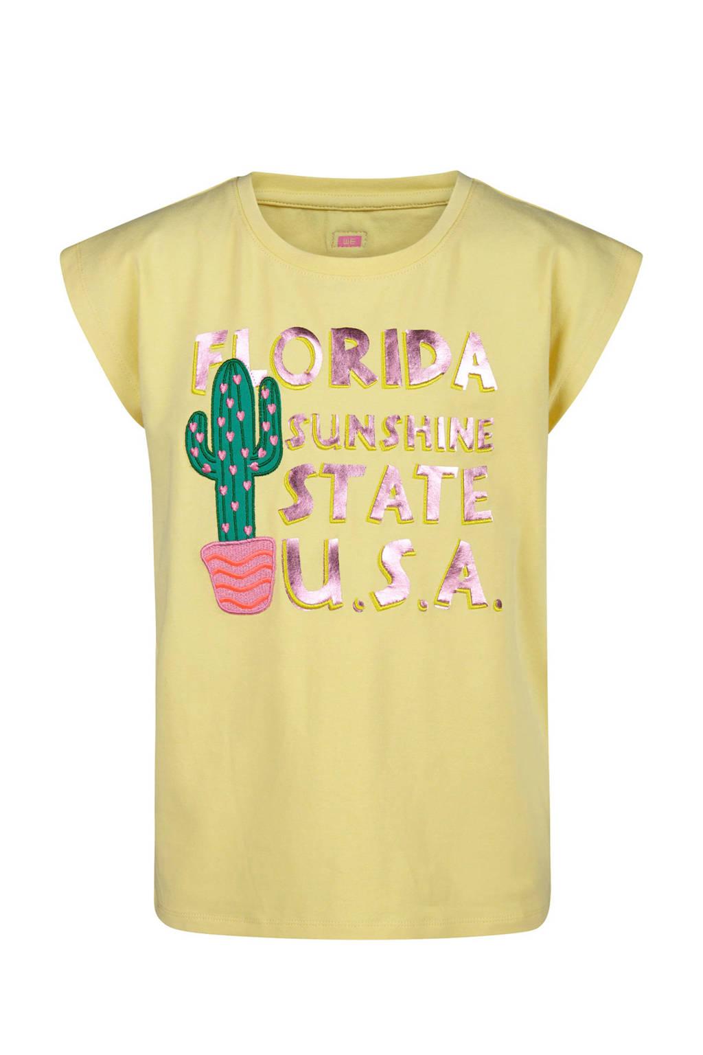 WE Fashion T-shirt met tekst lichtgeel, Lichtgeel