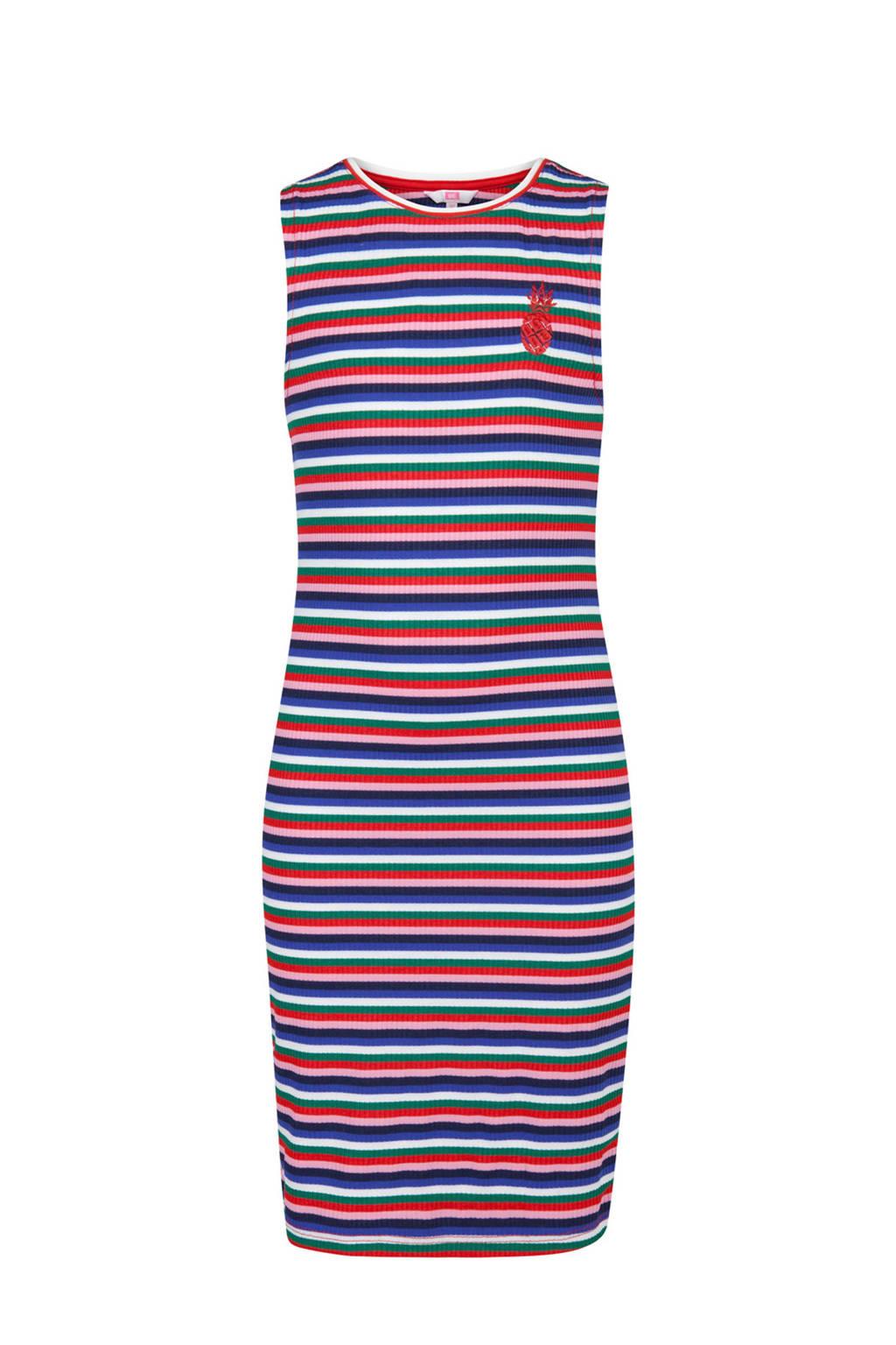 WE Fashion gestreepte maxi jurk blauw, Blauw/rood/roze/groen