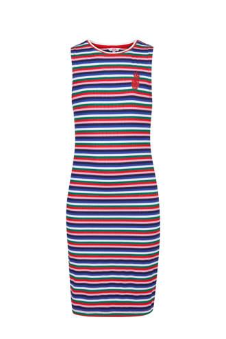 gestreepte maxi jurk blauw