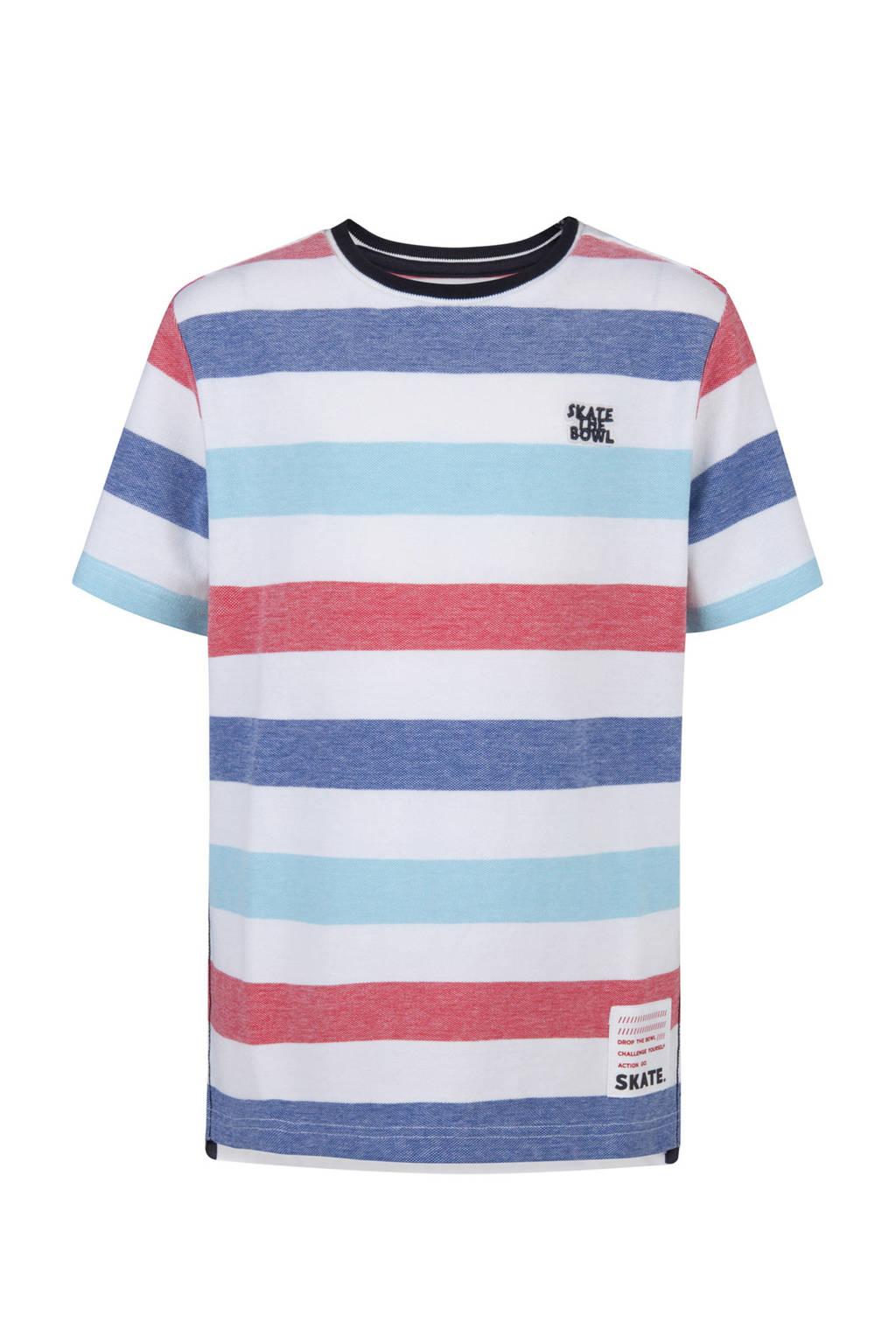 WE Fashion gestreepte T-shirt wit, Wit/rood/blauw