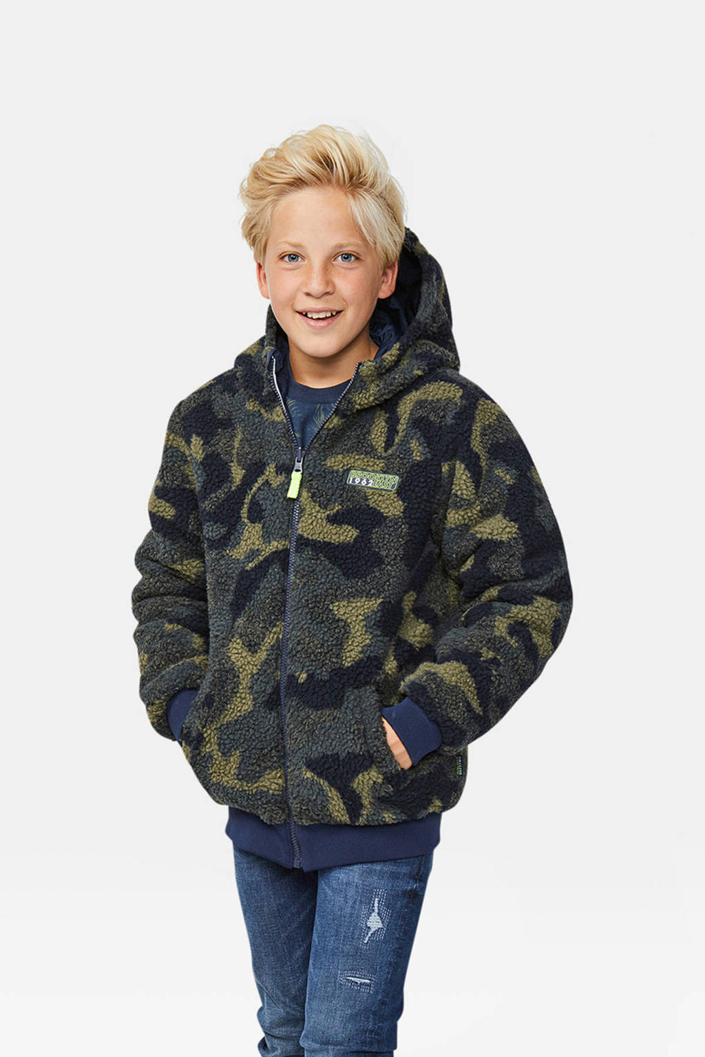WE Fashion omkeerbare jas blauw/camouflage, Donkerblauw