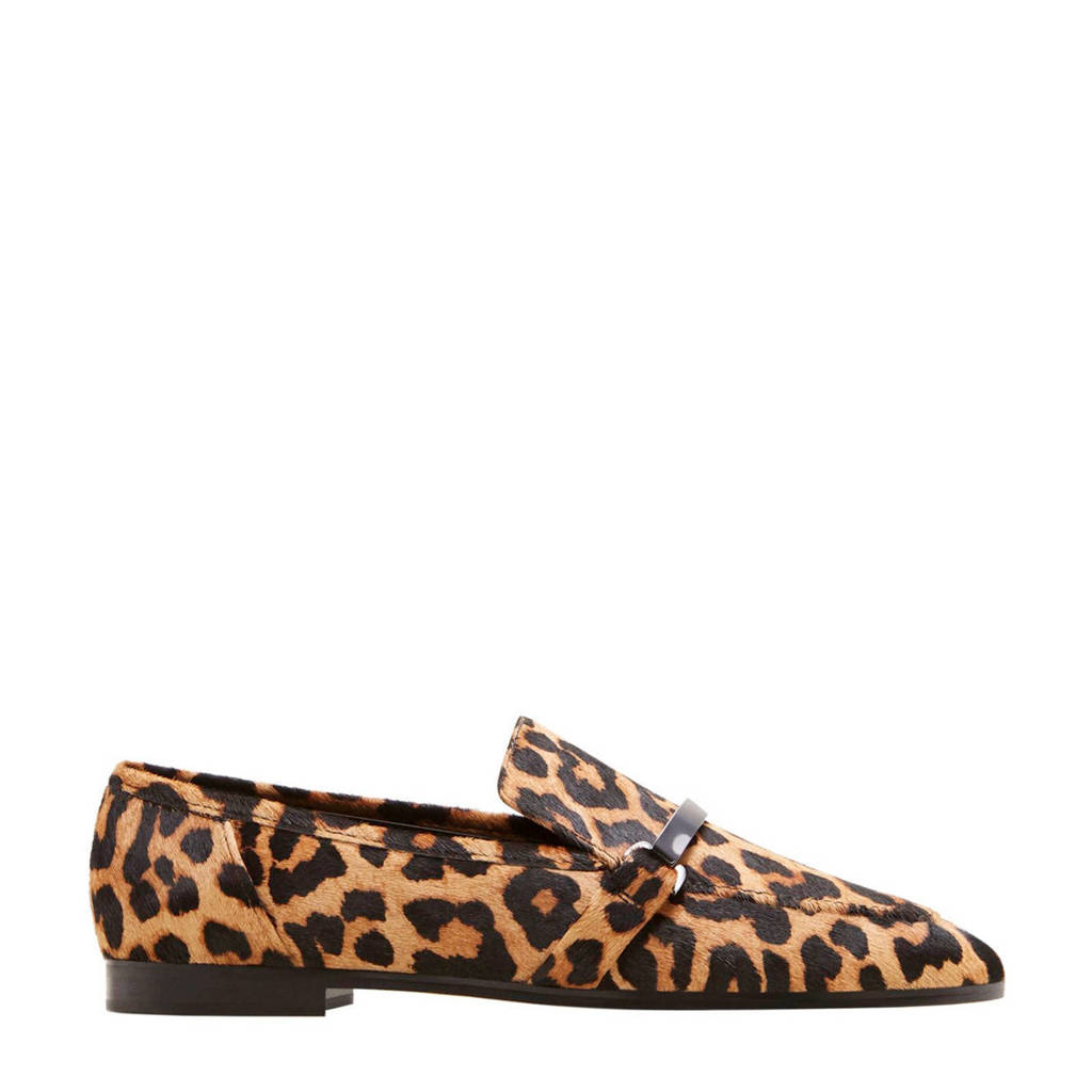 Violeta by Mango ponyhair loafers met panterprint, Camel/zwart