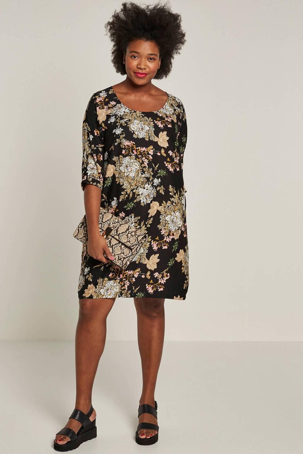 whkmp's great looks jurk met bloemenprint, Zwart/beige/roze