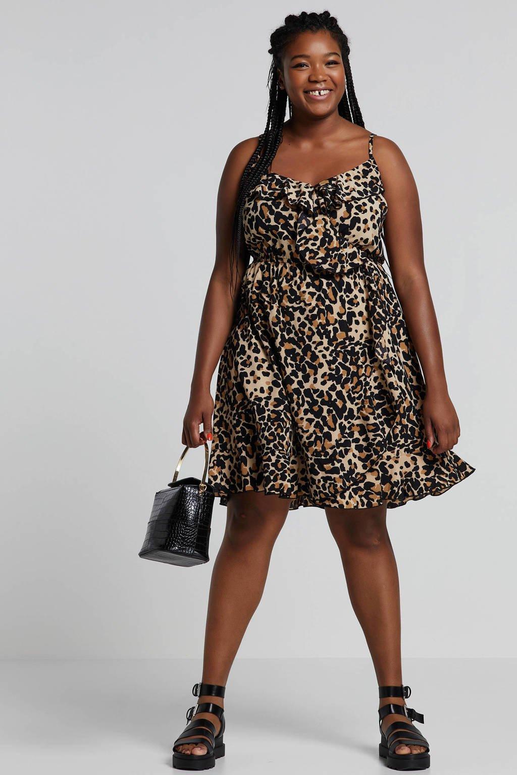 whkmp's great looks jurk met panterprint en volant, Beige/zwart