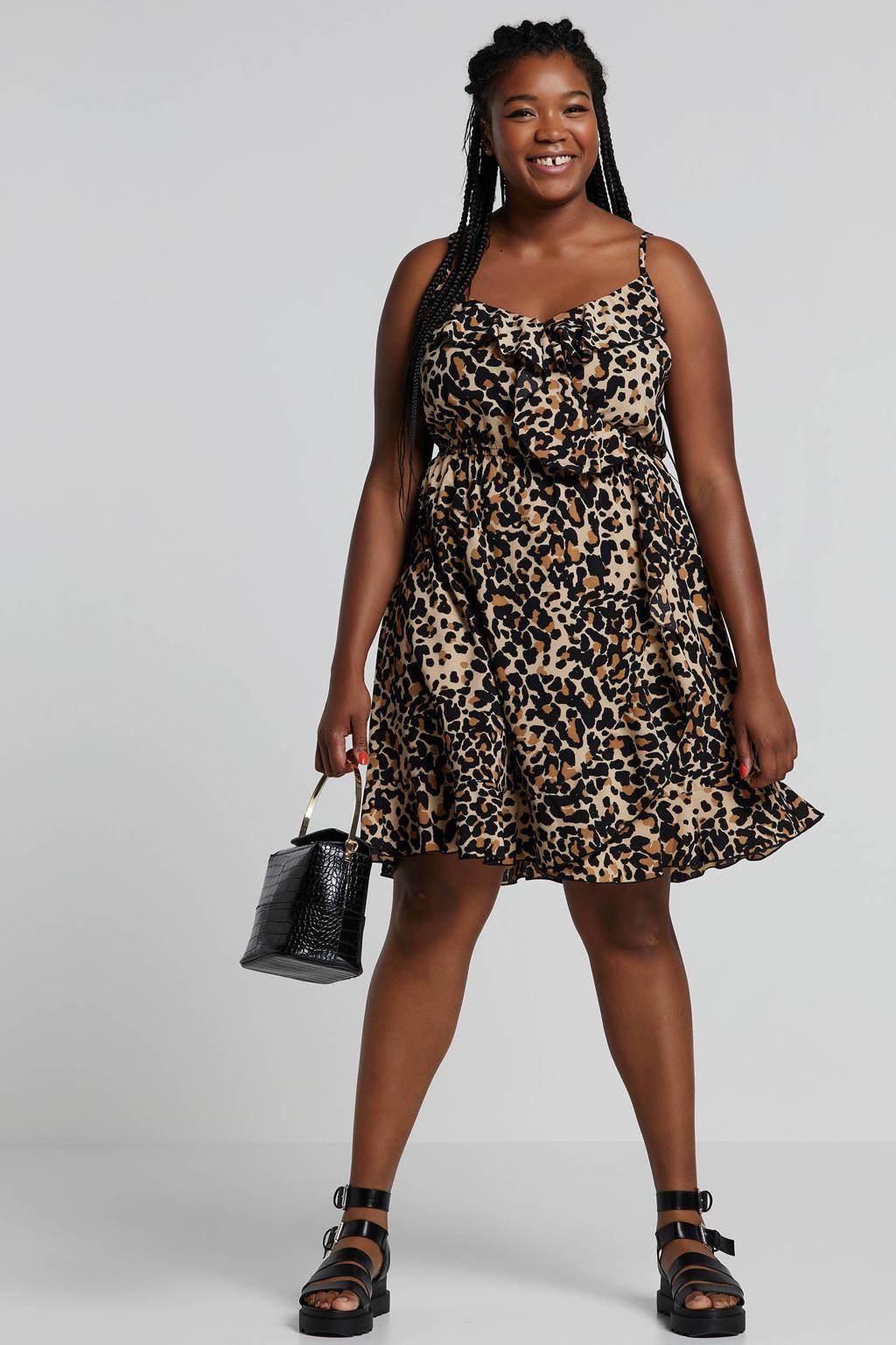 whkmp's great looks jurk met panterprint en volant beige/zwart, Beige/zwart