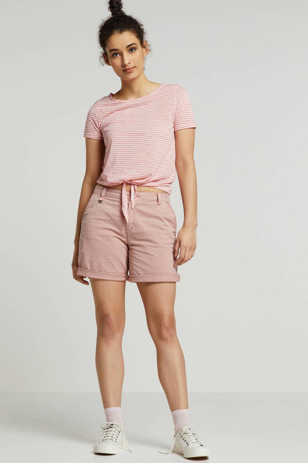 ESPRIT Women Casual korte broek met ceintuur, Roze