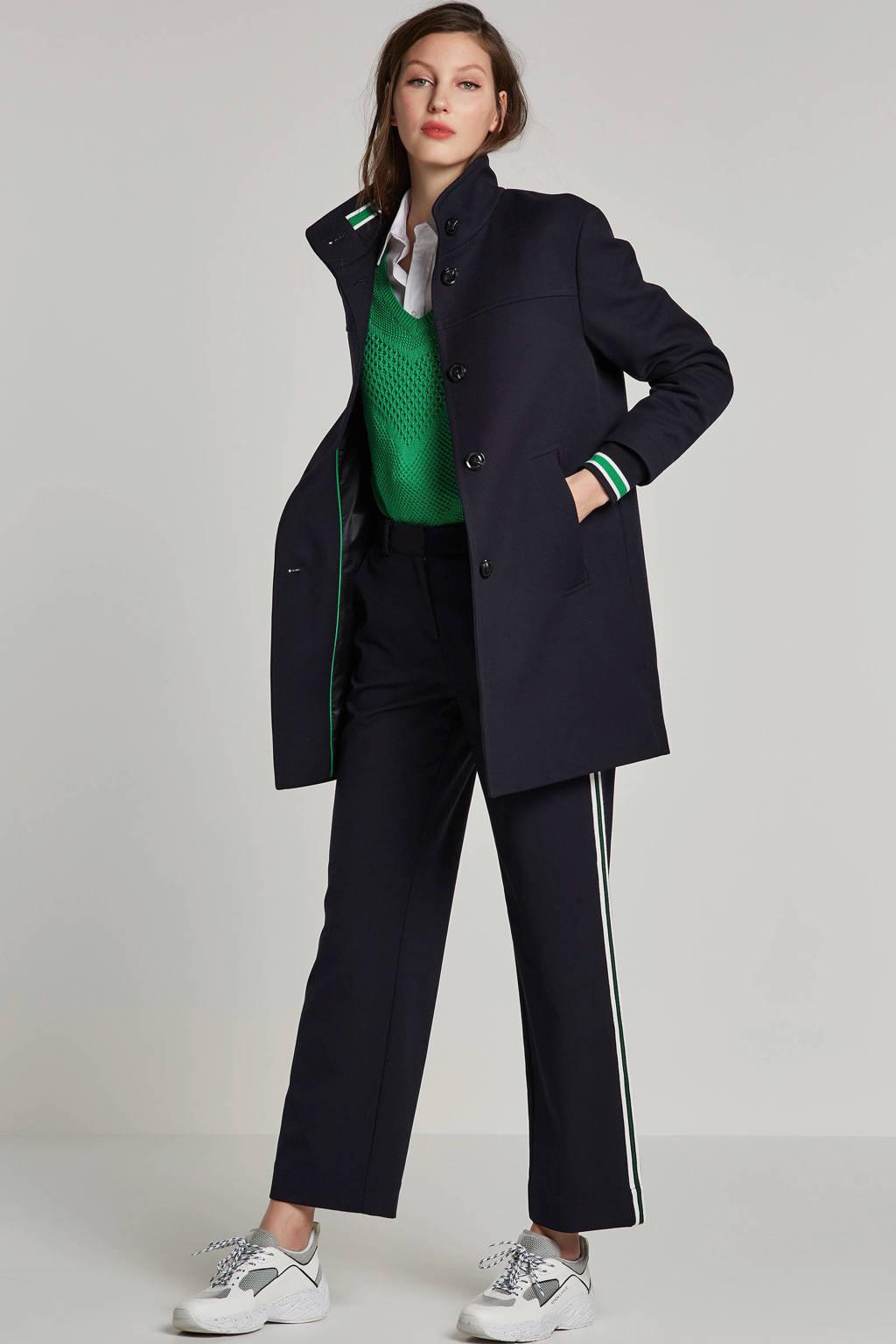 ESPRIT Women Casual jas met gestreepte rib boorden, Donkerblauw/groen/wit
