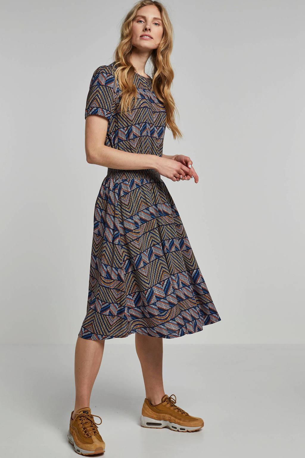 edc Women getailleerde jurk met all over print, Blauw/oranje/geel/zwart