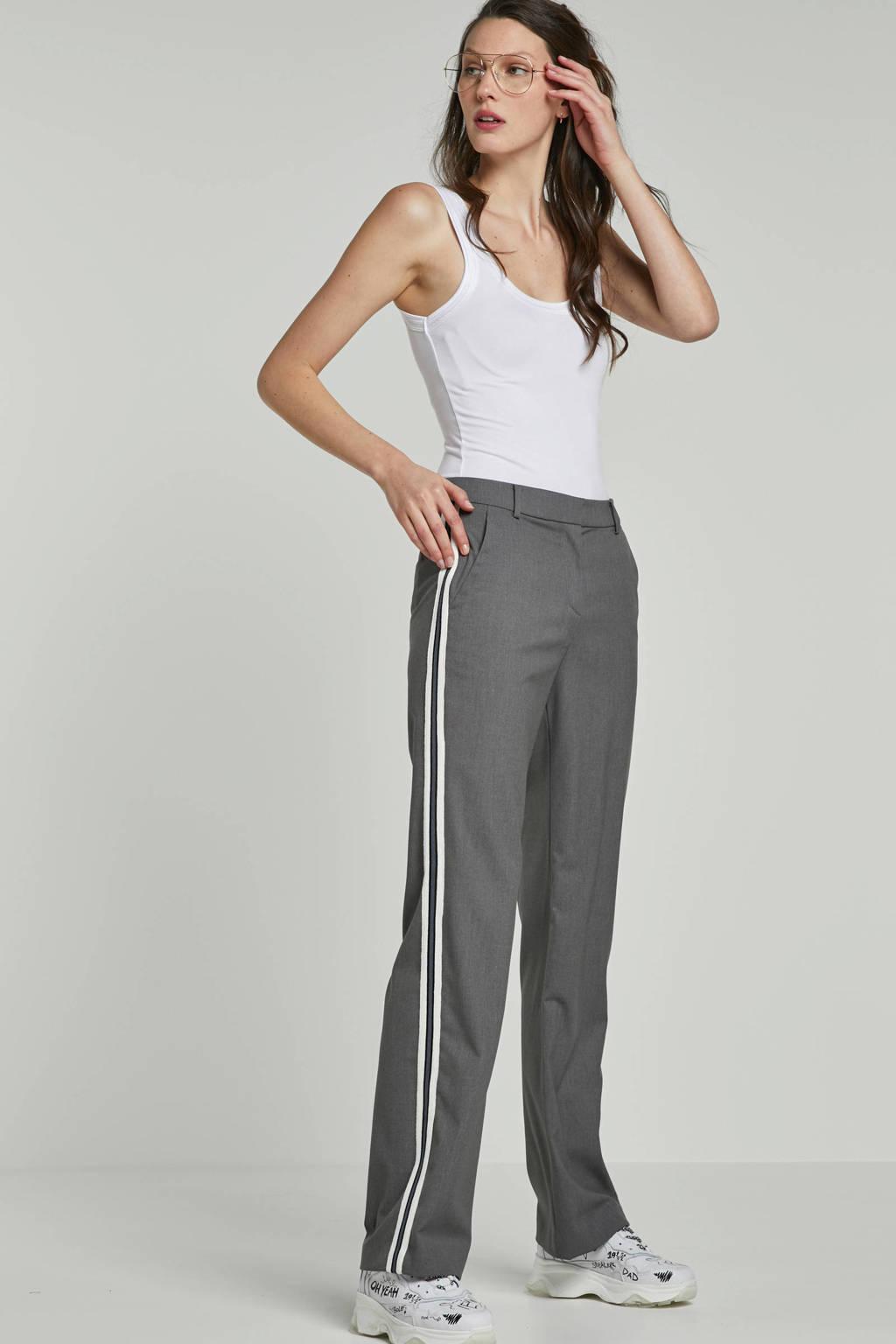 ESPRIT Women Casual pantalon met zijstrepen, Grijs