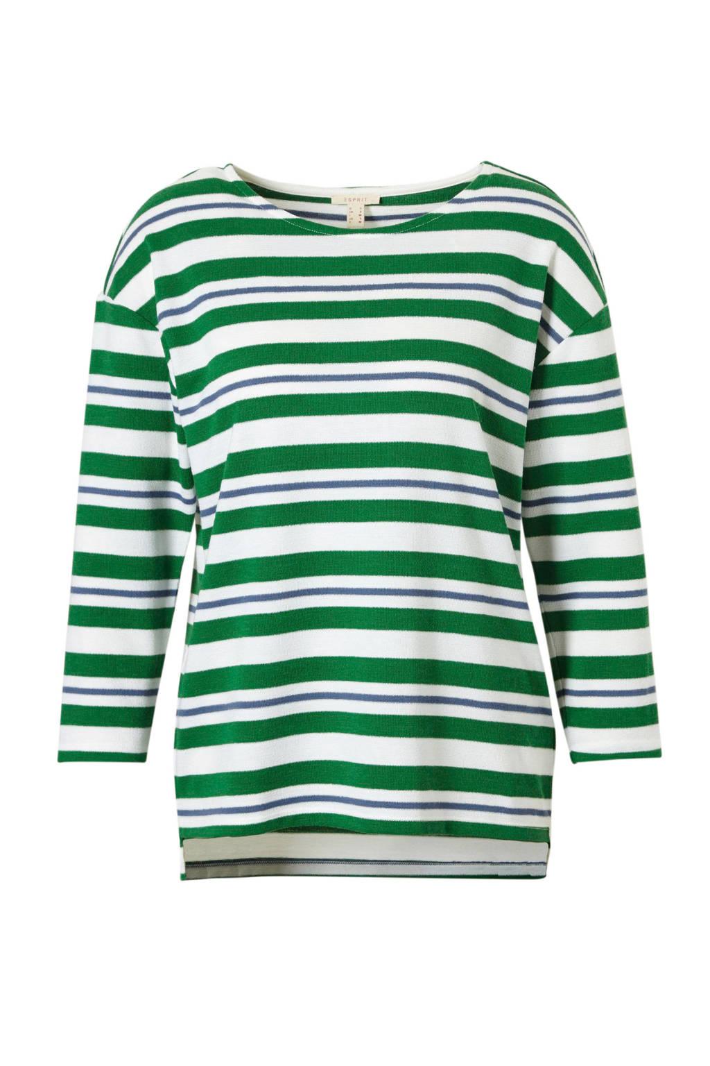 ESPRIT Women Casual top met strepen, Groen/ wit