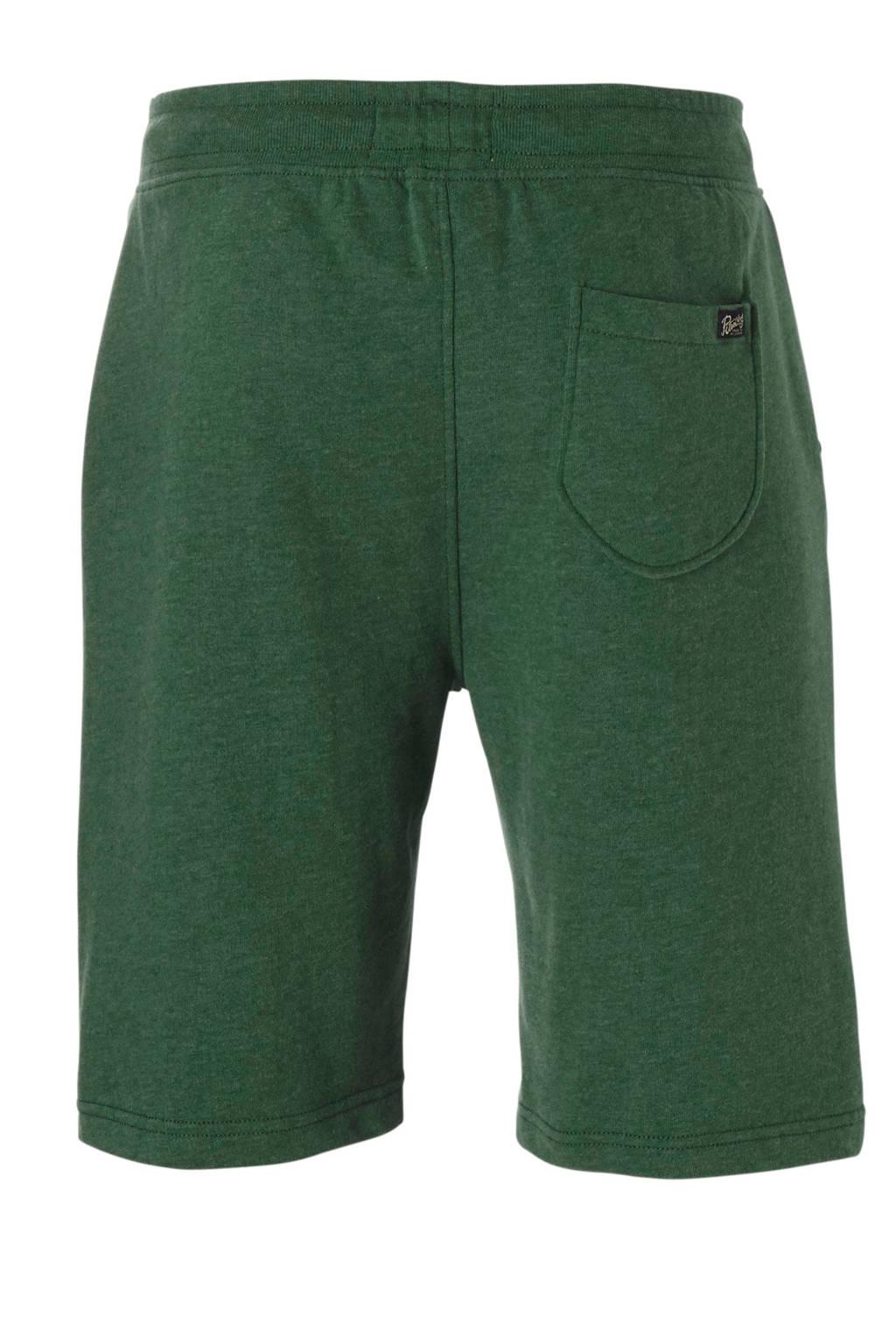 Petrol Industries gemêleerde regular fit sweatshort groen, Groen