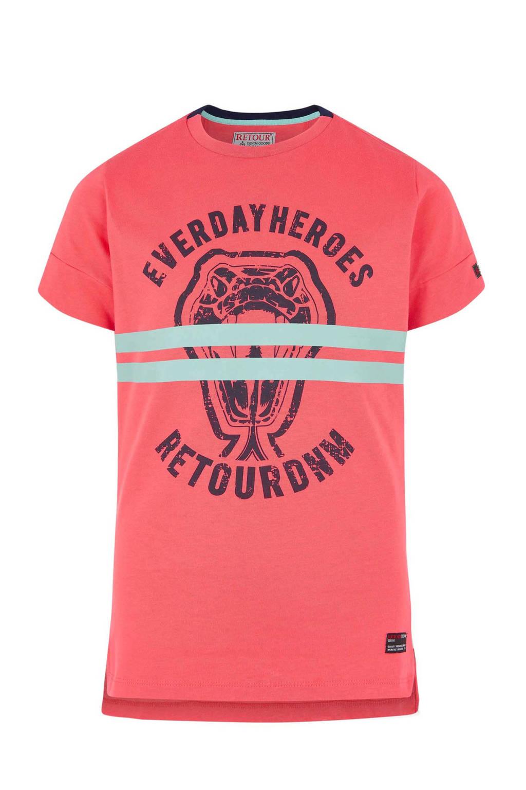 Retour Denim T-shirt met print Massimo donkerroze, Donkerroze