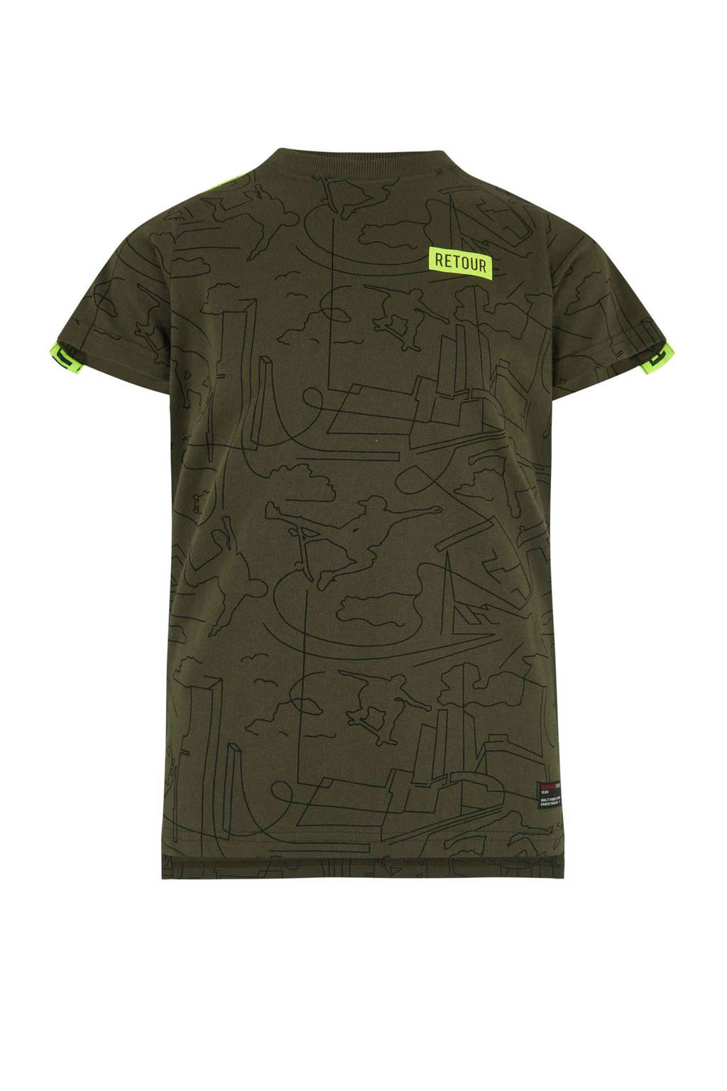 Retour Denim T-shirt met alloverprint Robert army, Army groen