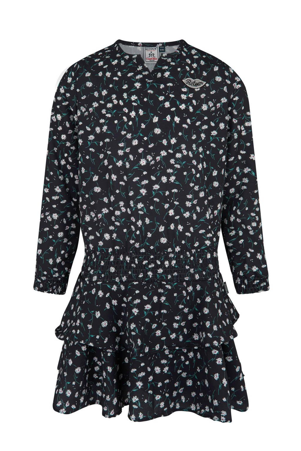 Retour Denim bloemen jurk met strokenrok Giselle zwart, Zwart/wit/groen