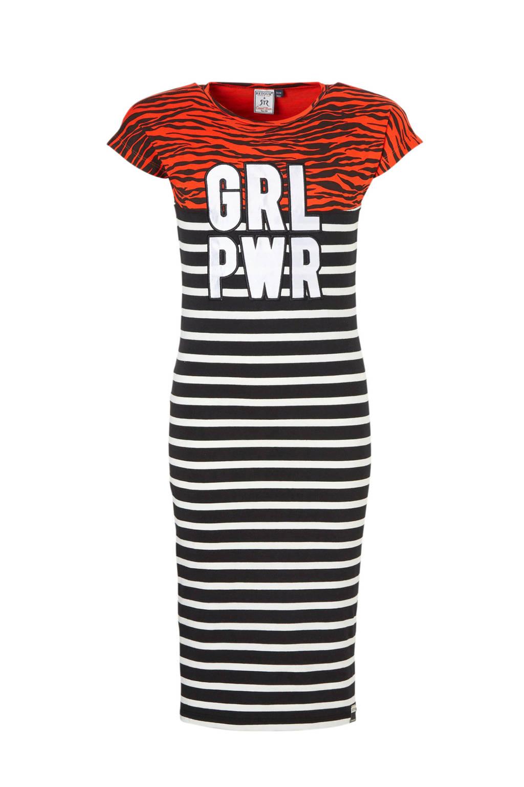 Retour Denim gestreepte jurk Ginger met tekst rood, Rood/zwart/wit