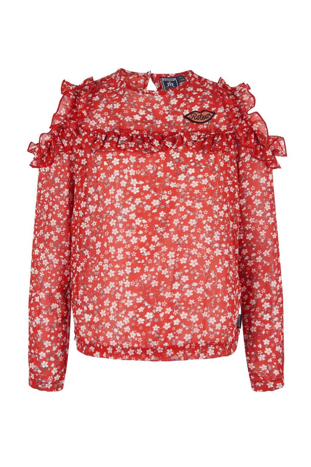Retour Denim gebloemde top Agatha rood, Rood/wit