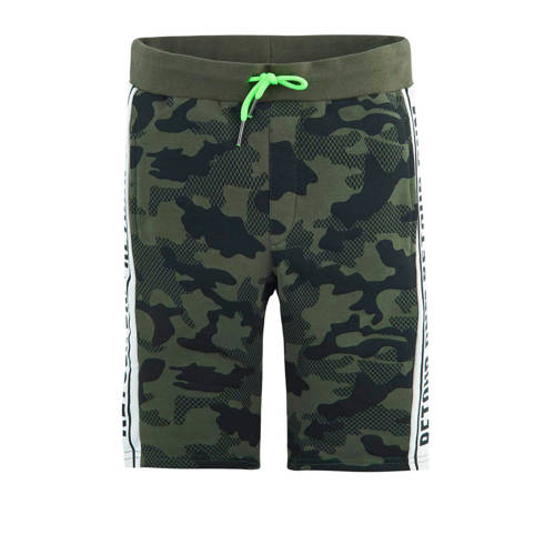 Retour Denim sweatshort Boyd met camouflageprint en zijstreep groen kopen