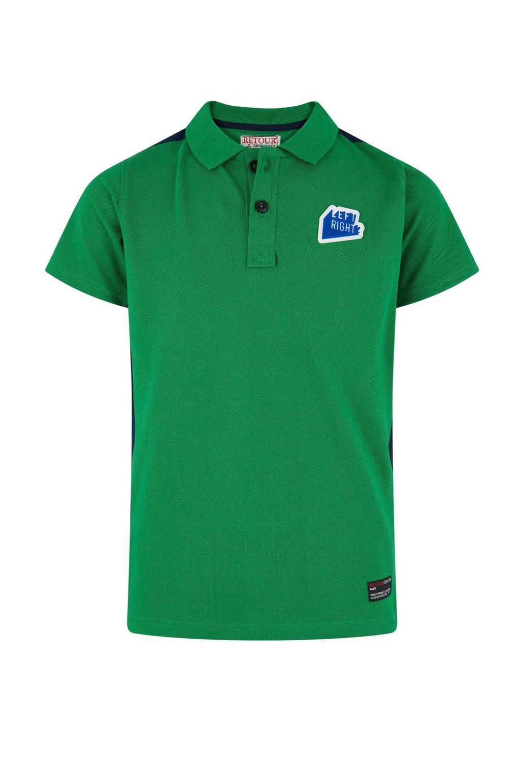 Retour Denim polo Enzo met zijstreep groen, Groen