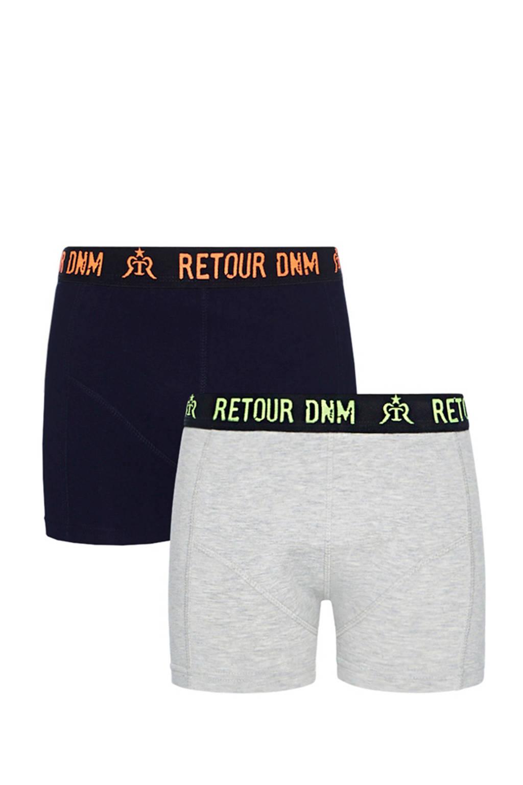 Retour Denim   boxershort Barend - set van 2 donkerblauw, Donkerblauw/grijs melange
