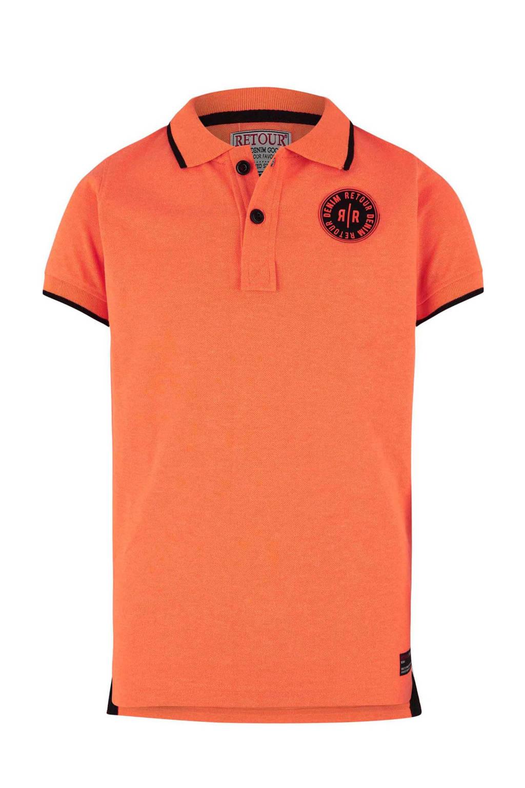 Retour Denim polo Lucas oranje, Oranje