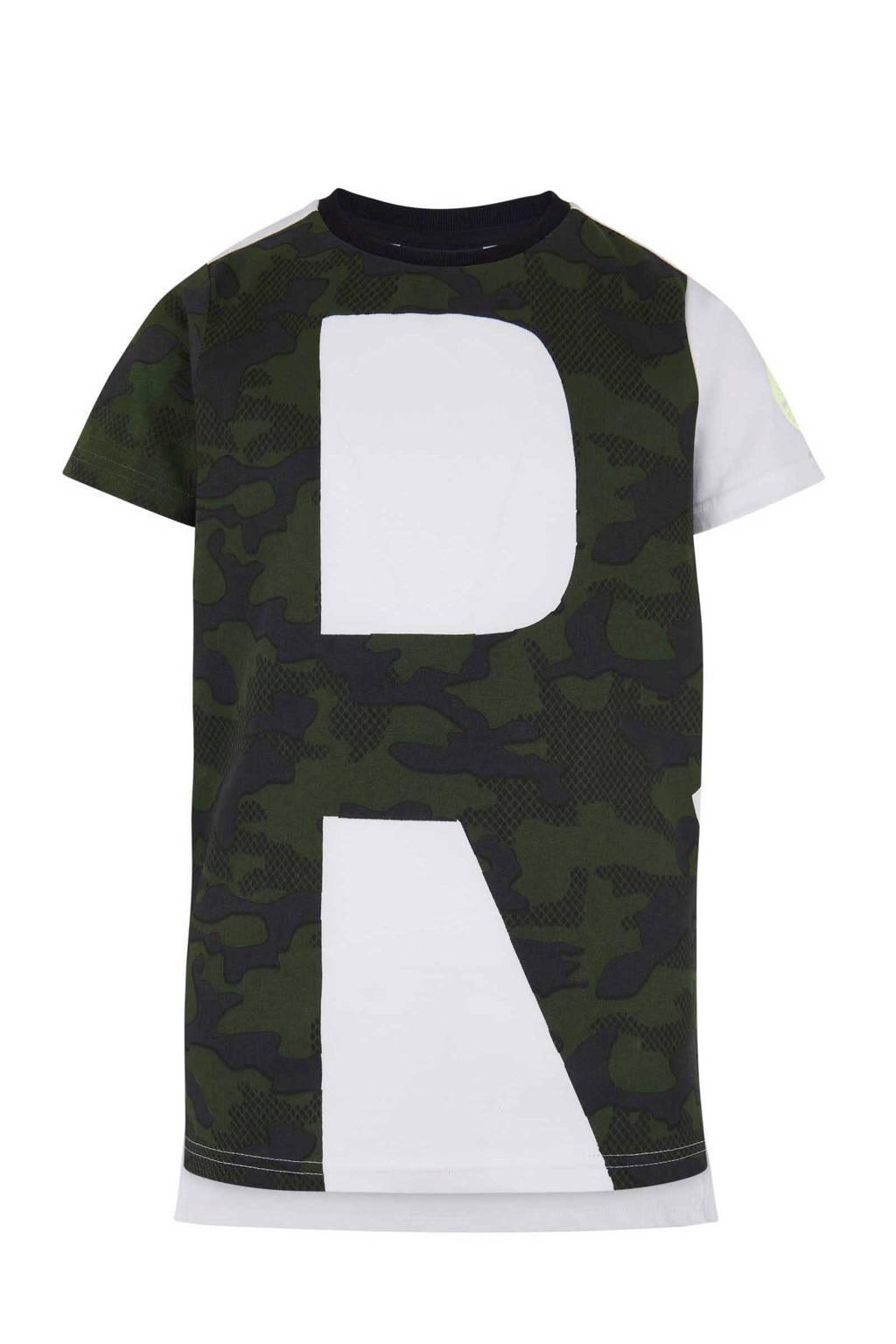 Retour Denim T-shirt Josh met camouflageprint wit, Wit/Legergroen