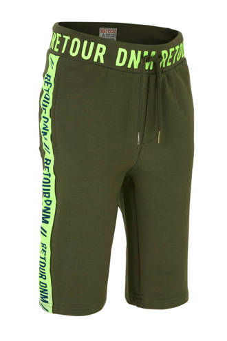 sweatshort Jondal met zijstreep army groen/geel