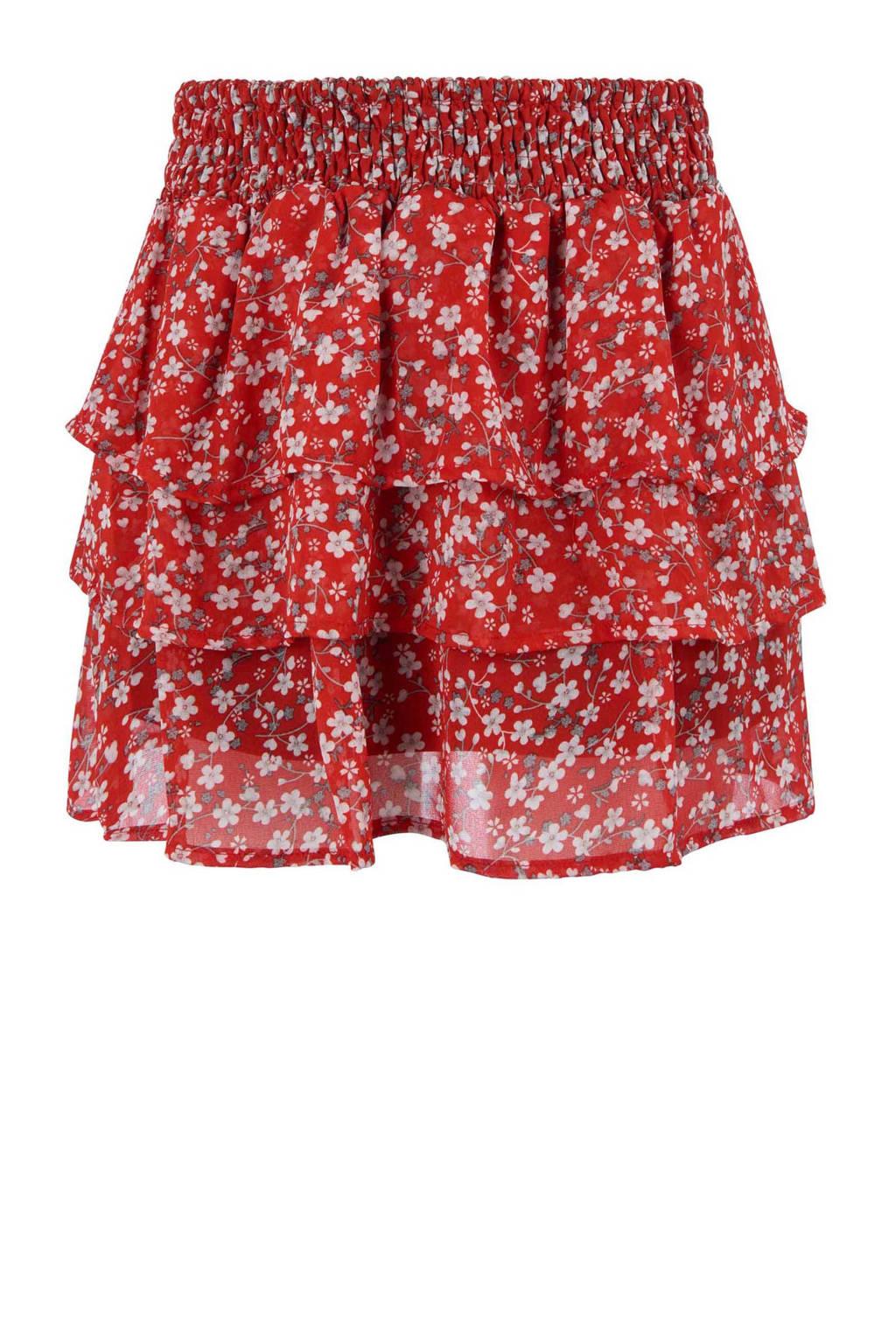 Retour Denim gebloemde rok Esmee rood, Rood/wit
