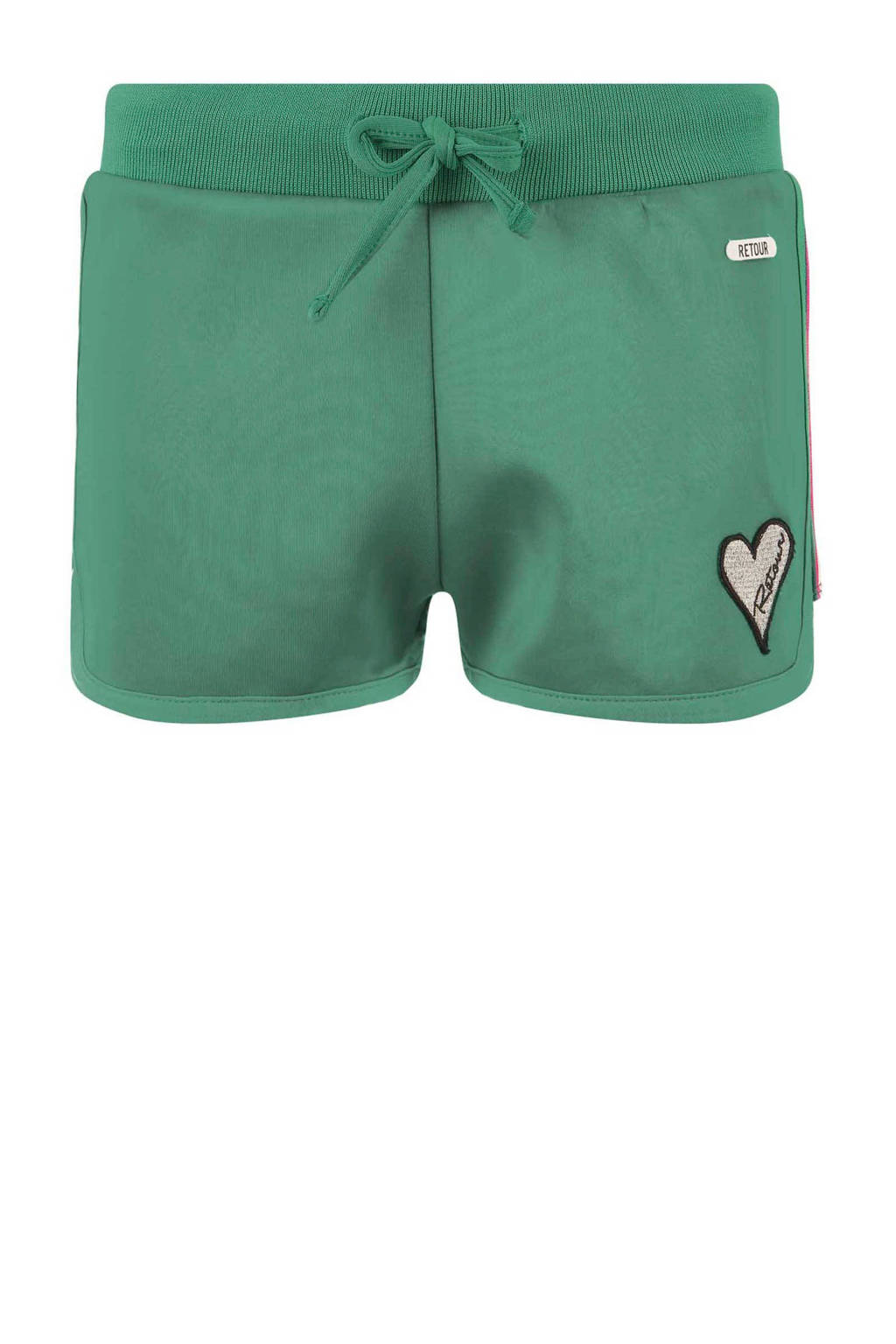 Retour Denim sweatshort Monique met zijstreep groen, Groen