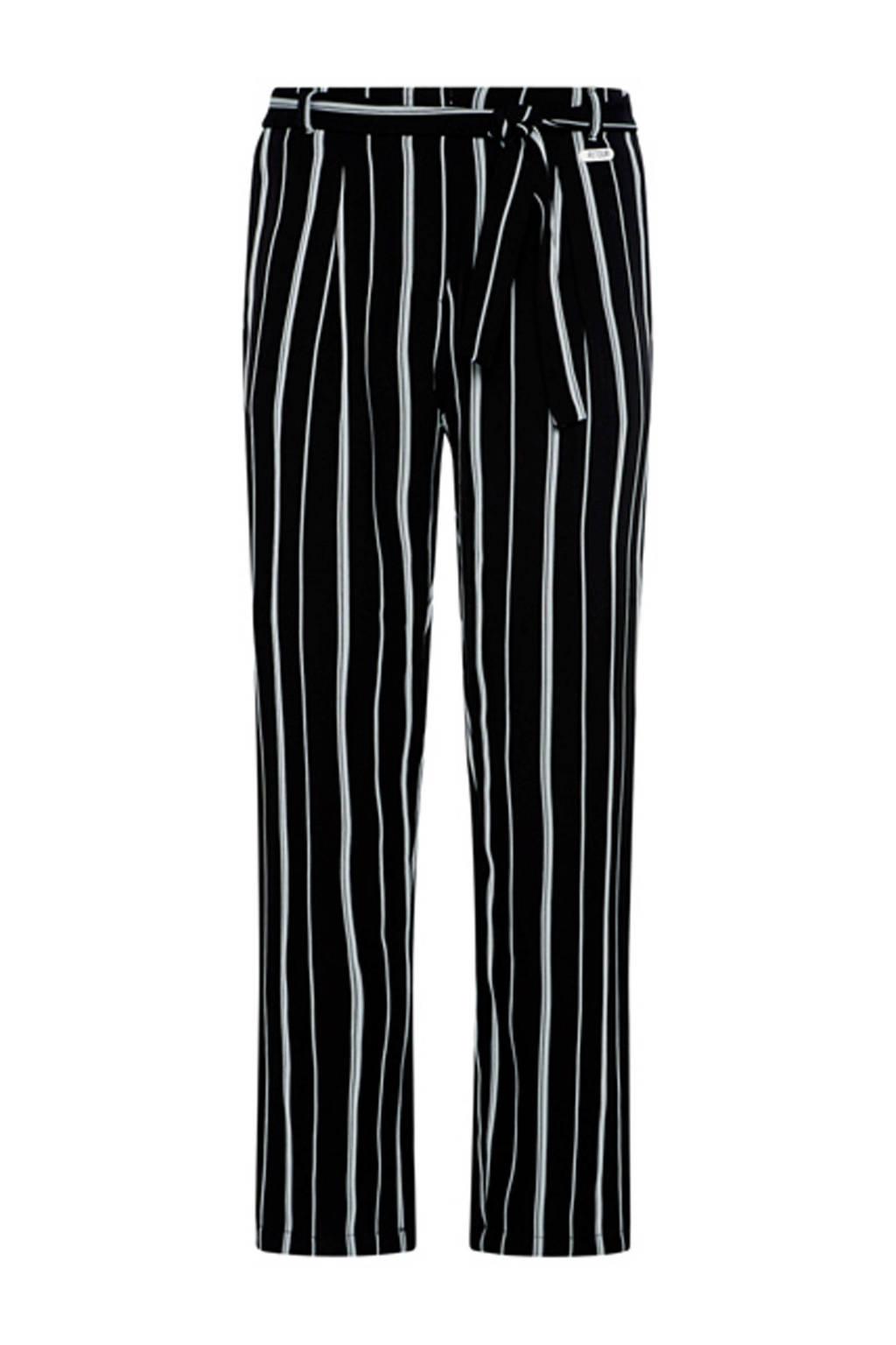 Retour Denim gestreepte broek Mayke zwart, Zwart/wit