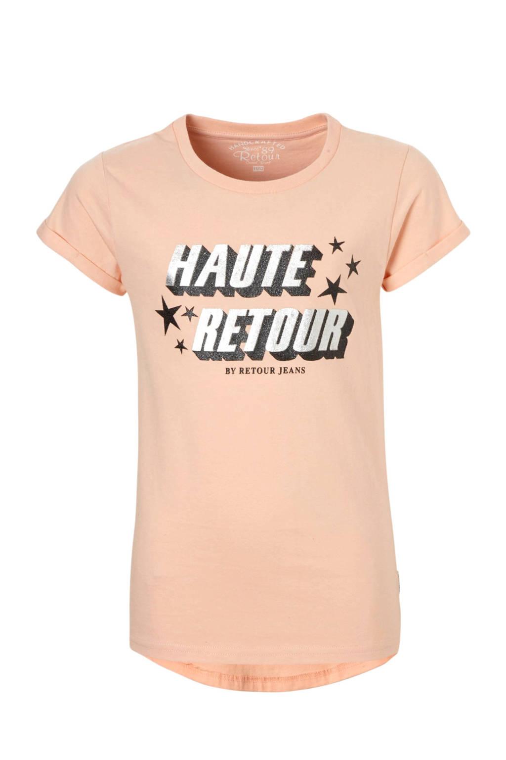 Retour Denim T-shirt met tekstprint Robyn zalmroze, Zalmroze