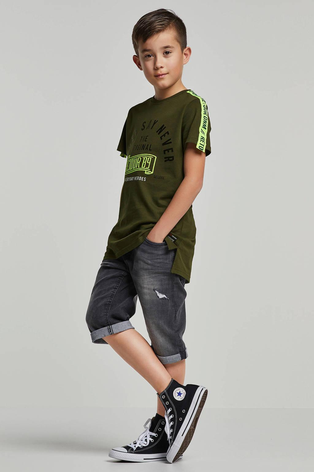 Retour Denim T-shirt met print en bies Zico army, Army groen
