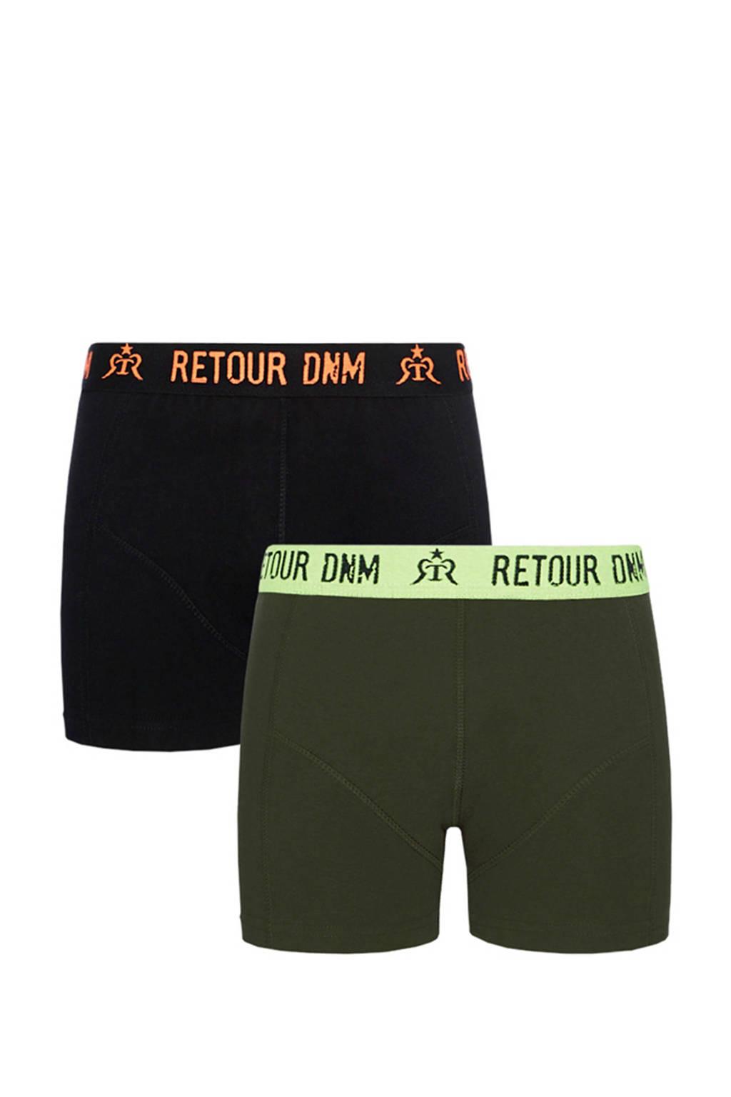 Retour Denim   boxershort - set van 2- Giano zwart, Zwart/Army