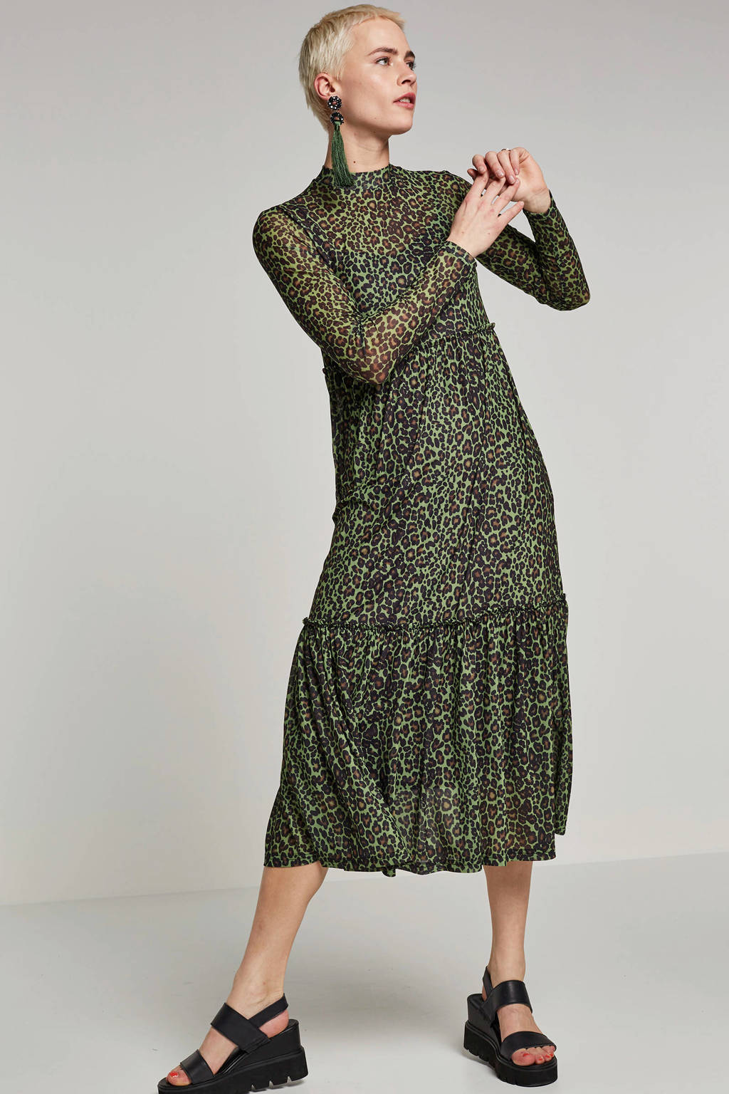 VILA mesh jurk met panterprint, Groen/bruin/zwart