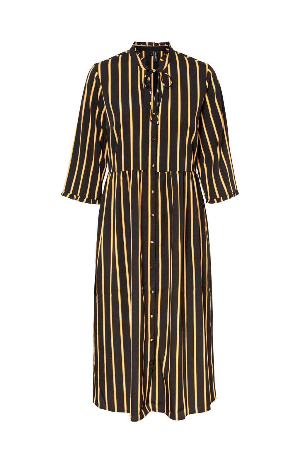 VERO MODA gestreepte blousejurk lang, Zwart/geel