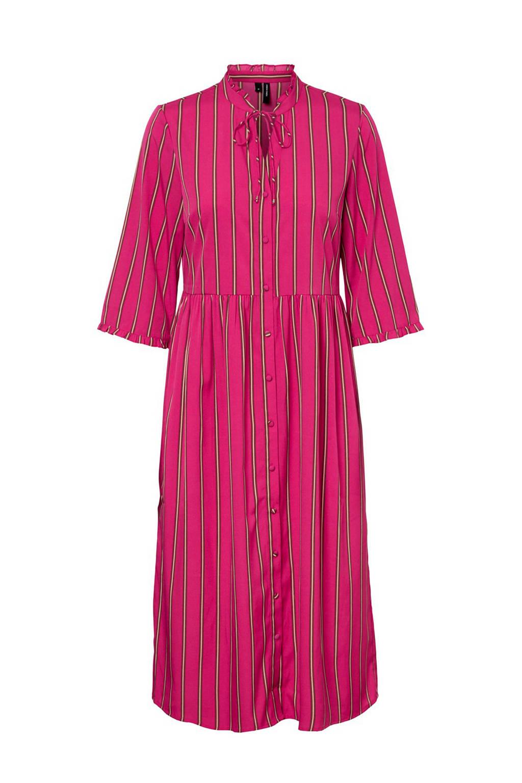 VERO MODA gestreepte blousejurk lang, Roze/wit