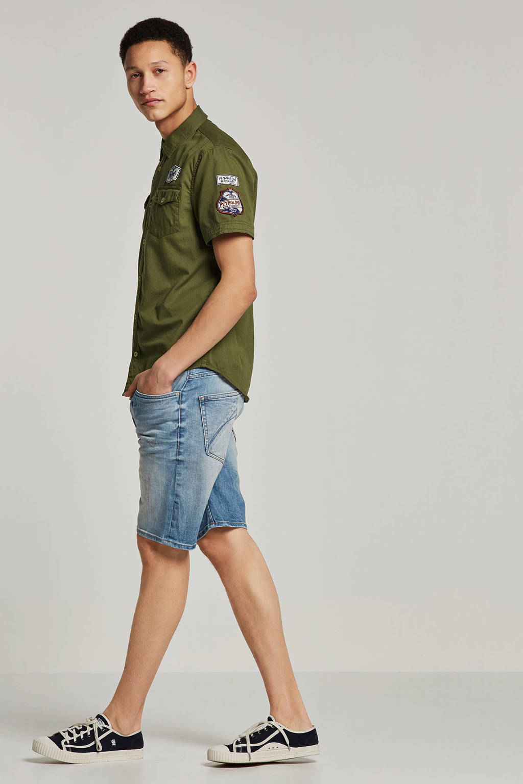Chasin' tapered fit jeans short Ross, Light denim