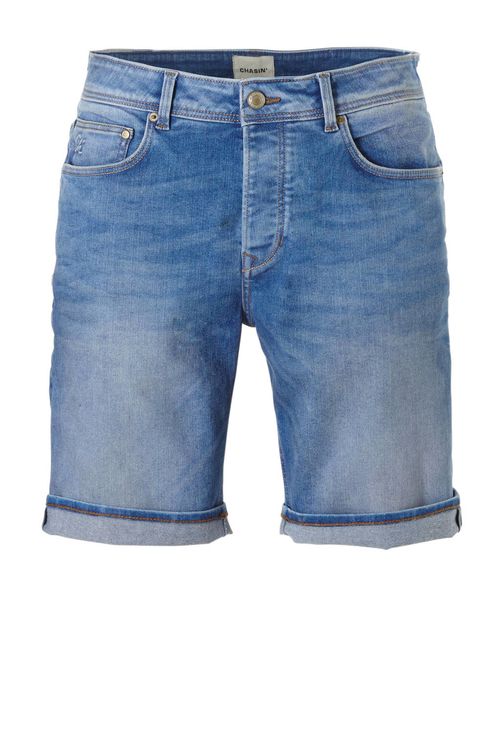 Chasin' tapered fit jeans short Ross, Blauw
