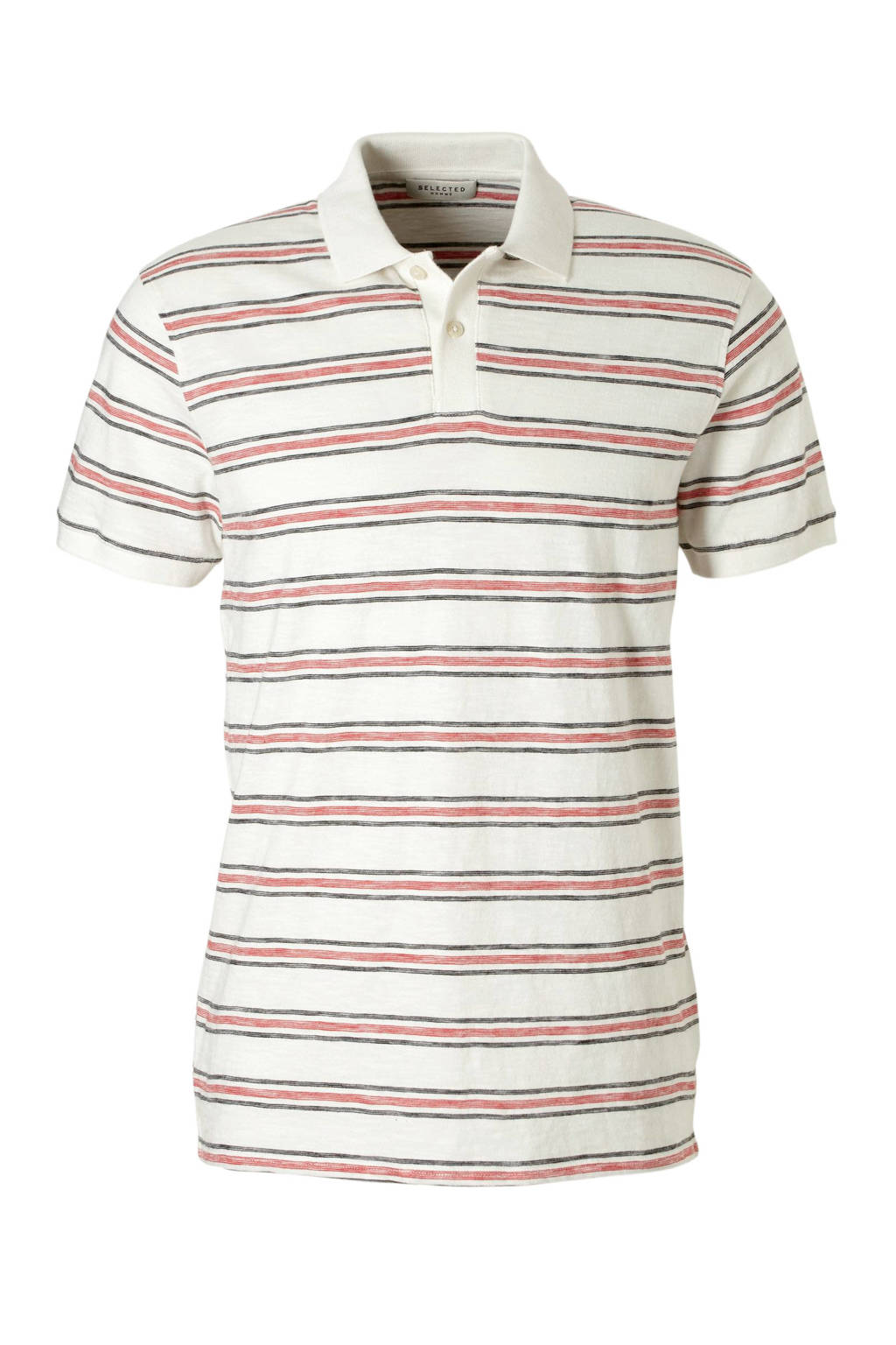 SELECTED HOMME polo, Wit/zwart/rood