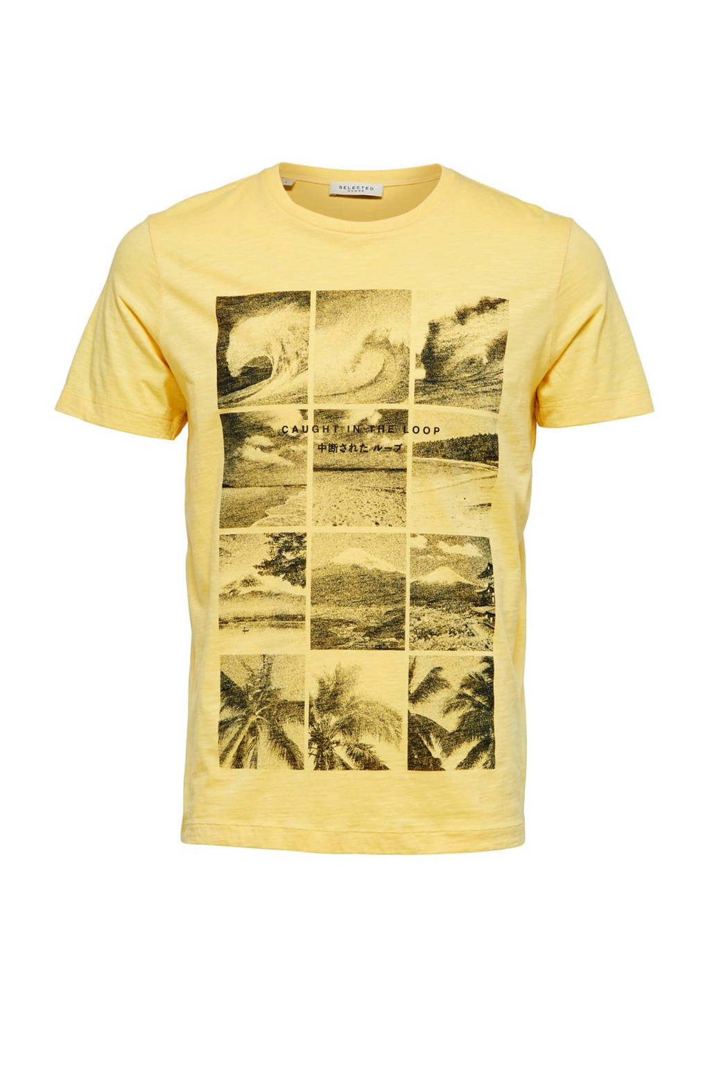 SELECTED HOMME T-shirt met printopdruk, Geel