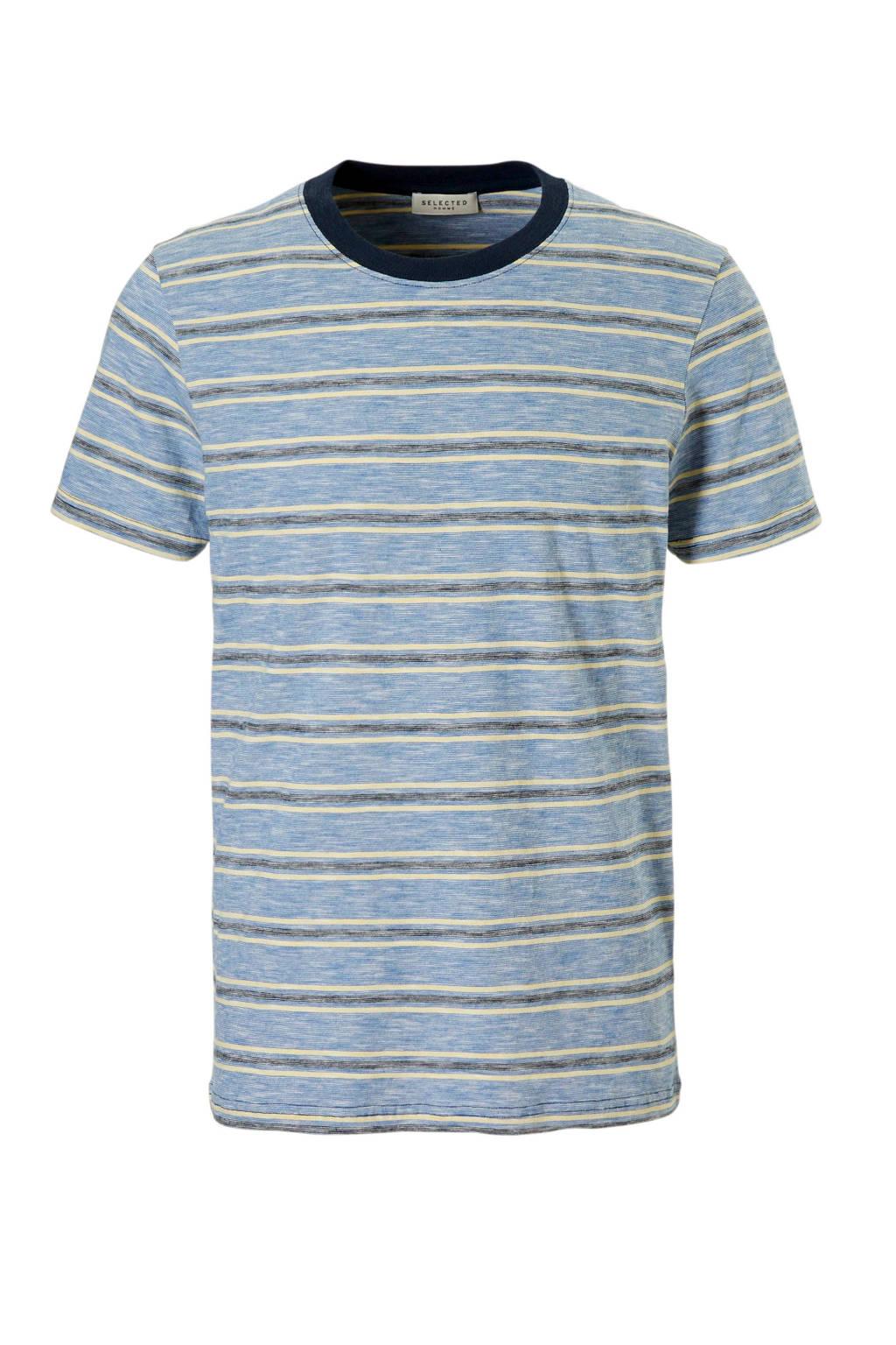 SELECTED HOMME T-shirt Kasper, Blauw/geel