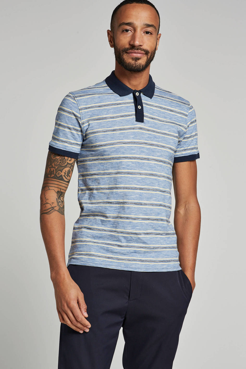 SELECTED HOMME polo, Blauw/geel