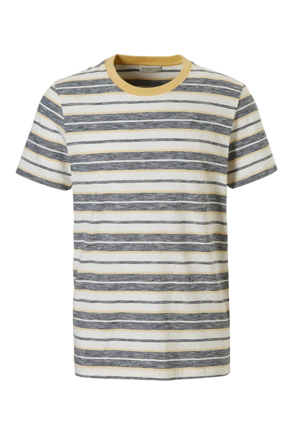 SELECTED HOMME T-shirt Kasper, Wit/geel
