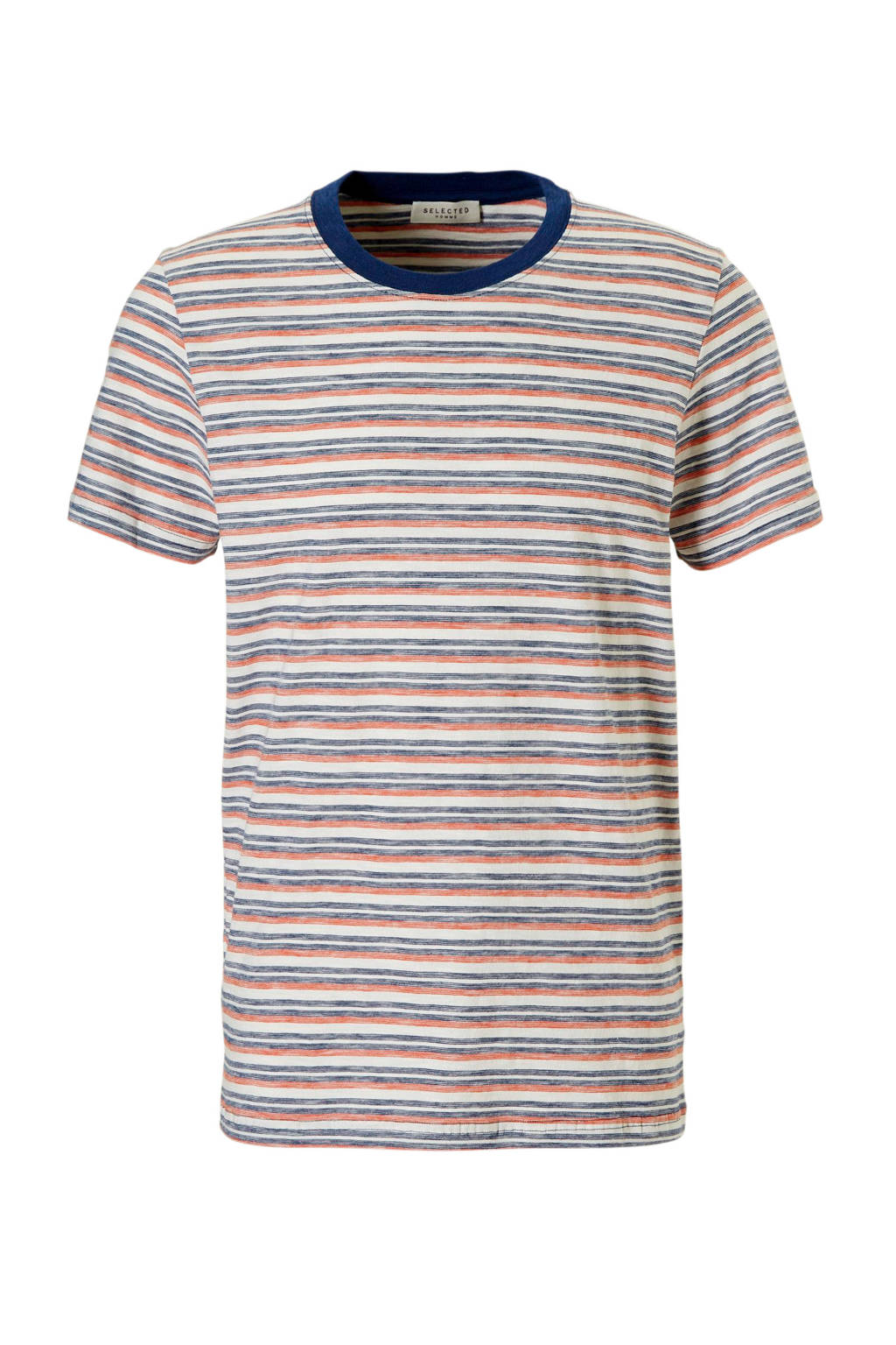 SELECTED HOMME T-shirt Kasper, Ecru/blauw