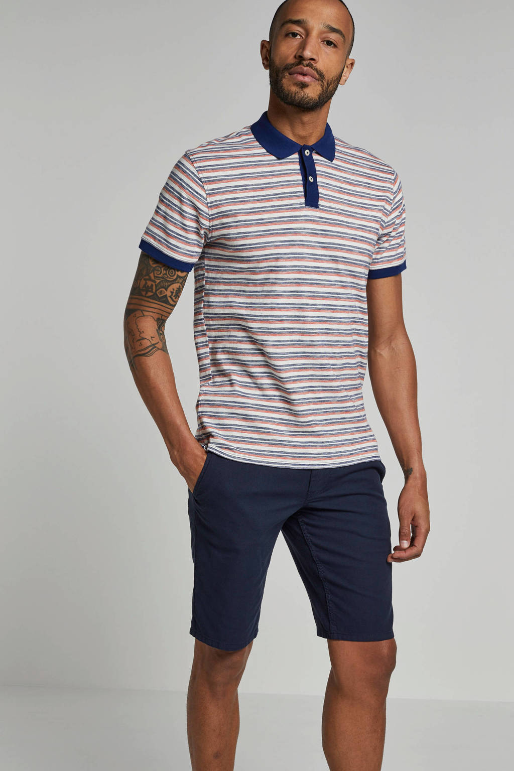 SELECTED HOMME polo, Wit/blauw/oranje