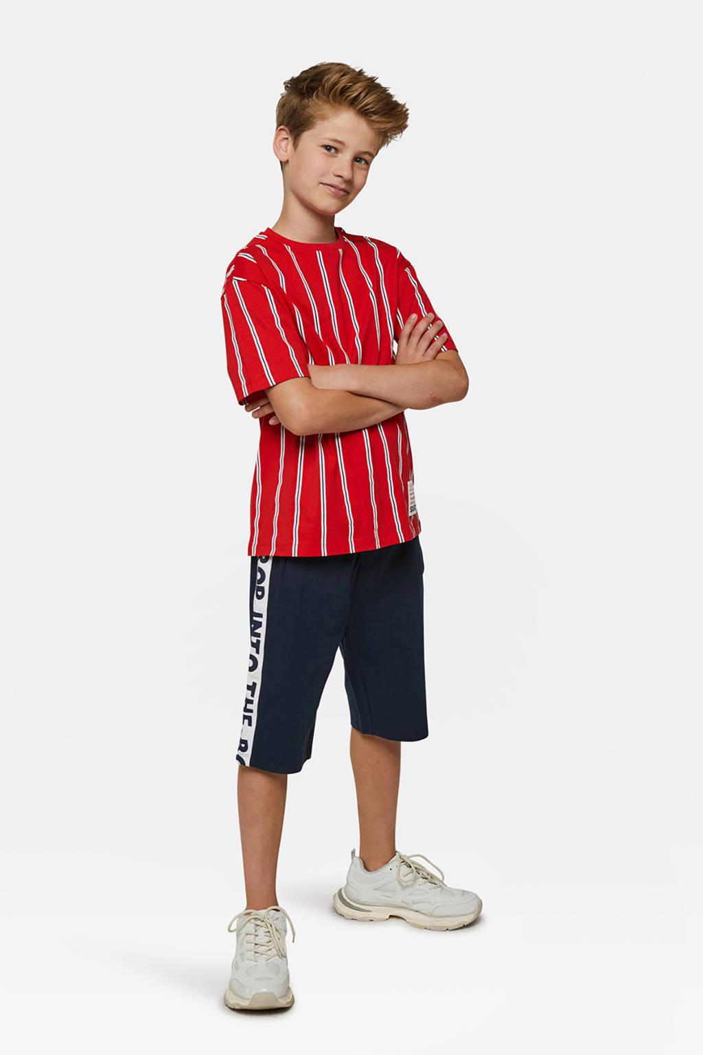 WE Fashion gestreept T-shirt rood, Rood