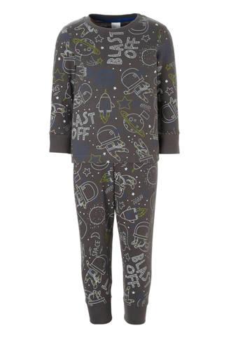 Palomino   pyjama met ruimteprint grijs