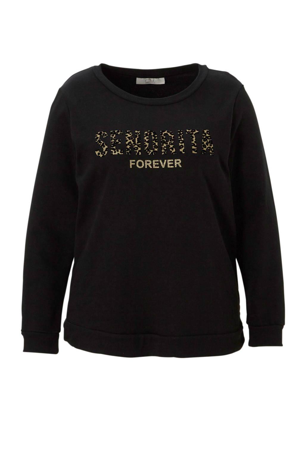 C&A XL Clockhouse sweater met letteropdruk zwart, zwart/ goud
