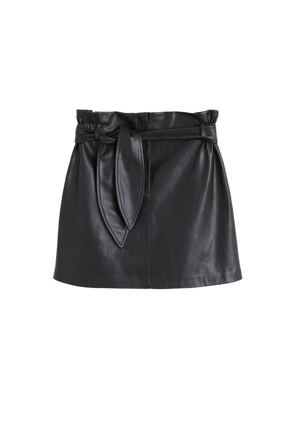 Mango imitatieleren rok zwart, Zwart