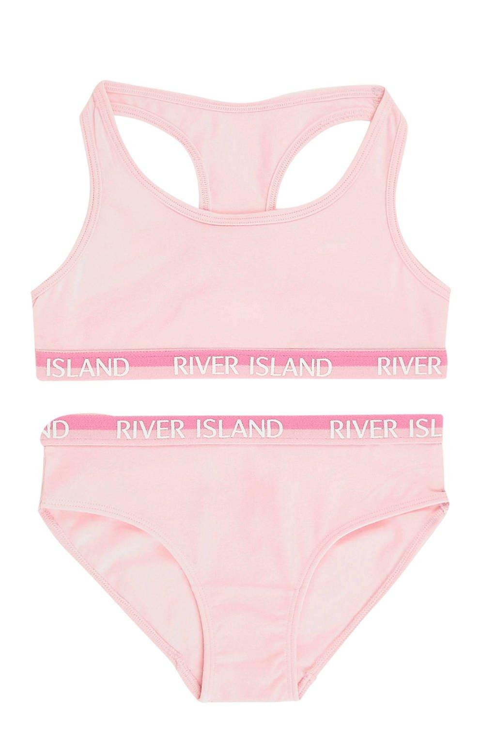 River Island bh top + slip, Roze