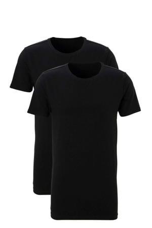 slimfit T-shirt (set van 2) zwart